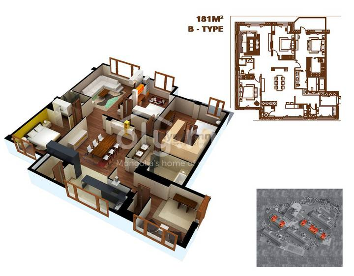 ID 64, Khoroo 11 байршилд for rent зарын residential Apartment төсөл 1