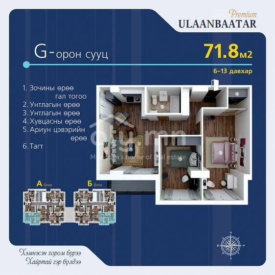 ID 298, Khoroo 1 байршилд for sale зарын residential Apartment төсөл 1
