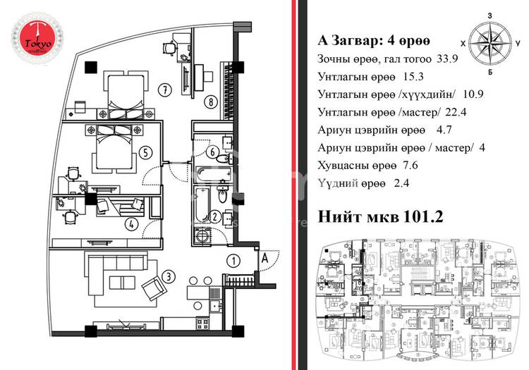ID 534, Khoroo 3 байршилд for sale зарын residential Apartment төсөл 1