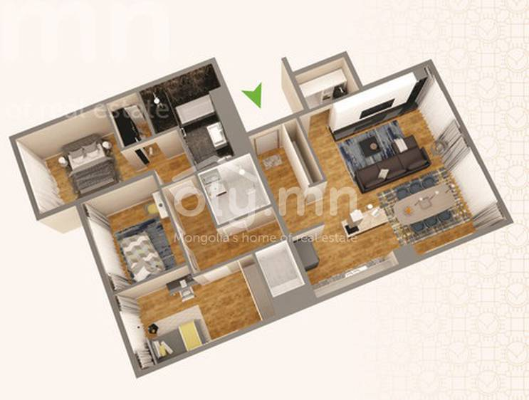 ID 268, Khoroo 4 байршилд for rent зарын residential Apartment төсөл 1