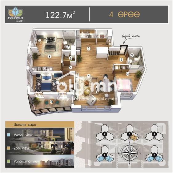 ID 995, Khoroo 4 байршилд for sale зарын residential Apartment төсөл 1