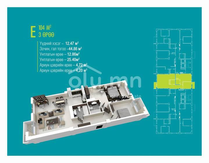 ID 1396, Khoroo 4 байршилд for sale зарын residential Apartment төсөл 1