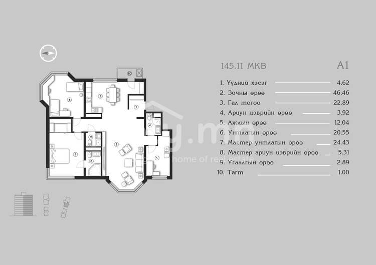 ID 1375, Khoroo 4 байршилд for sale зарын residential Apartment төсөл 1