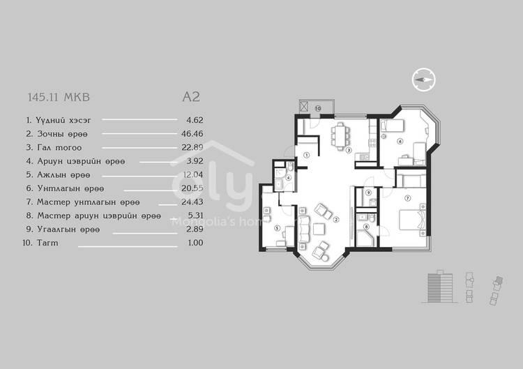 ID 1376, Khoroo 4 байршилд for sale зарын residential Apartment төсөл 1