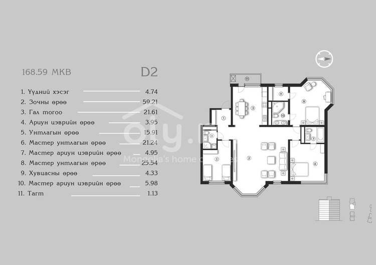 ID 1382, Khoroo 4 байршилд for sale зарын residential Apartment төсөл 1