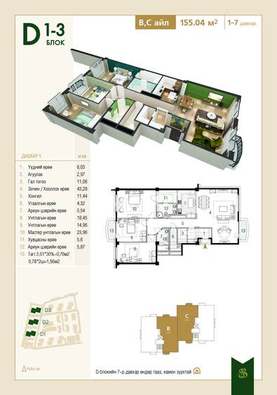 ID 1432, Khoroo 15 байршилд for sale зарын residential Apartment төсөл 1