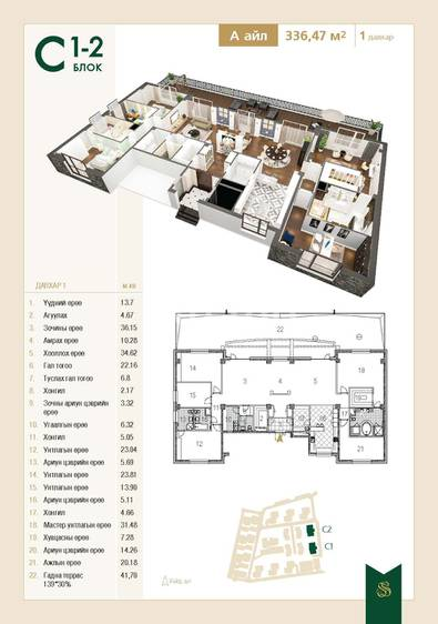 ID 1434, Khoroo 15 байршилд for sale зарын residential Apartment төсөл 1