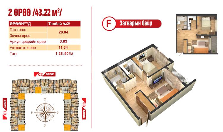 ID 2108, Khoroo 14 байршилд for sale зарын residential Apartment төсөл 1