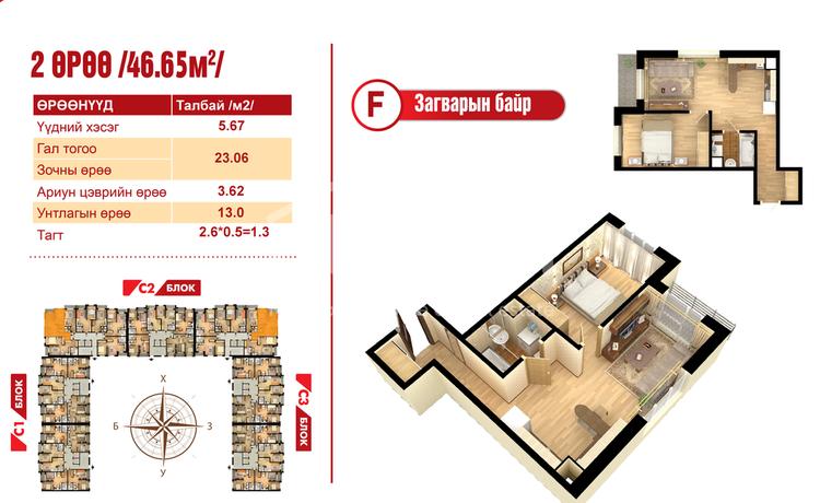ID 2100, Khoroo 14 байршилд for sale зарын residential Apartment төсөл 1